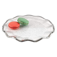 "(D) Handcrafted 'Silveredge' 13"" Round Serving Platter with Silver Metallic Rim"