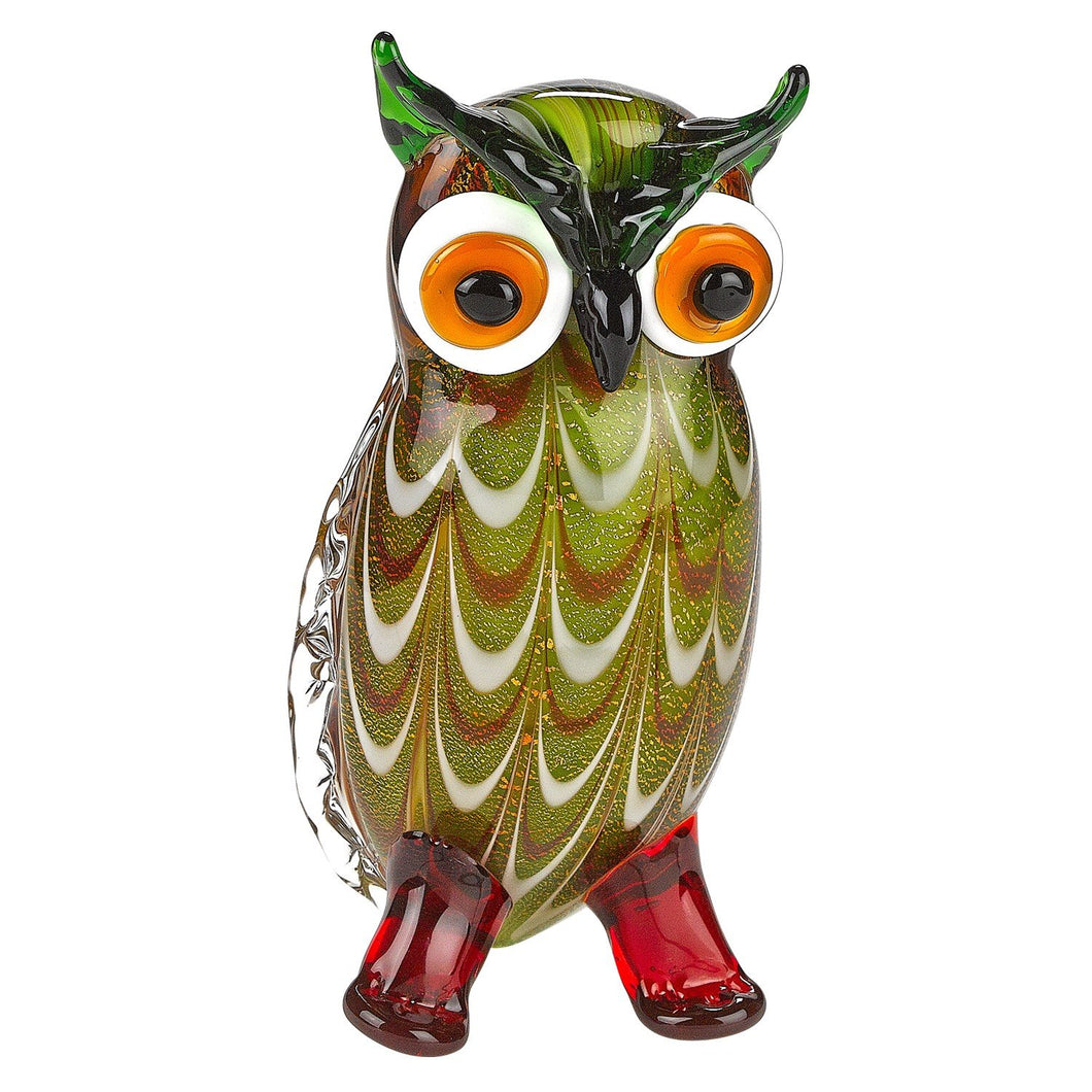 (D) Handcrafted Murano Art Glass Owl Figurine 8