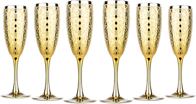 Luxury Champagne Glasses Crystal Flutes Gold Plated 'Liberty' Set of 6