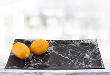 "(D) Black Marble Glass Rectangular Serving Tray 16""L, Display Platter"