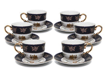 Royalty Porcelain 12pc Cobalt Blue Gold-Plated 24K, 4Oz Old-fashioned Coffee Set