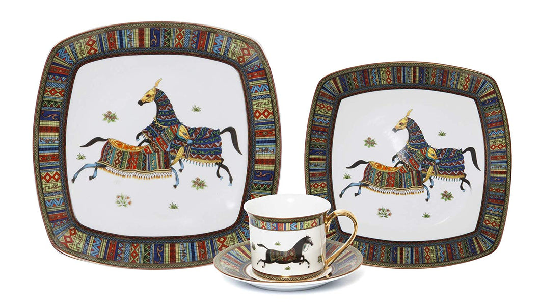 Royalty Porcelain Vintage Design Square 16-pc Dinnerware Set 'Greek Horse Cheval', Premium Bone China