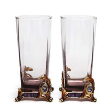 RORO Wedding Gift, Set of 2 Luxury Jeweled Bohemia Crystal 8.5oz Tumblers