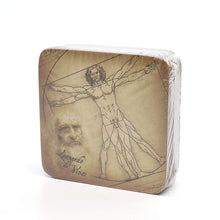 Carmani Painters 9pc Set of Cork Drink Coasters, Da Vinci (Vitruvian man)