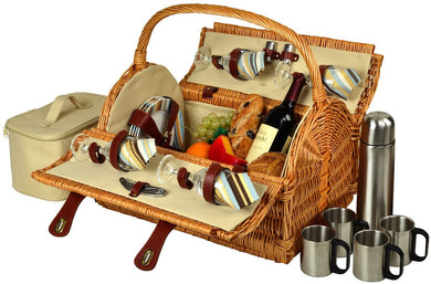 (D) York Picnic Basket for 4 with Coffee Set, Bag for Outdoor (Green Stripes)