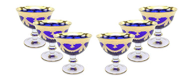Interglass Italy Luxury Vintage Glass Compote Serving Bowl (6, Blue)