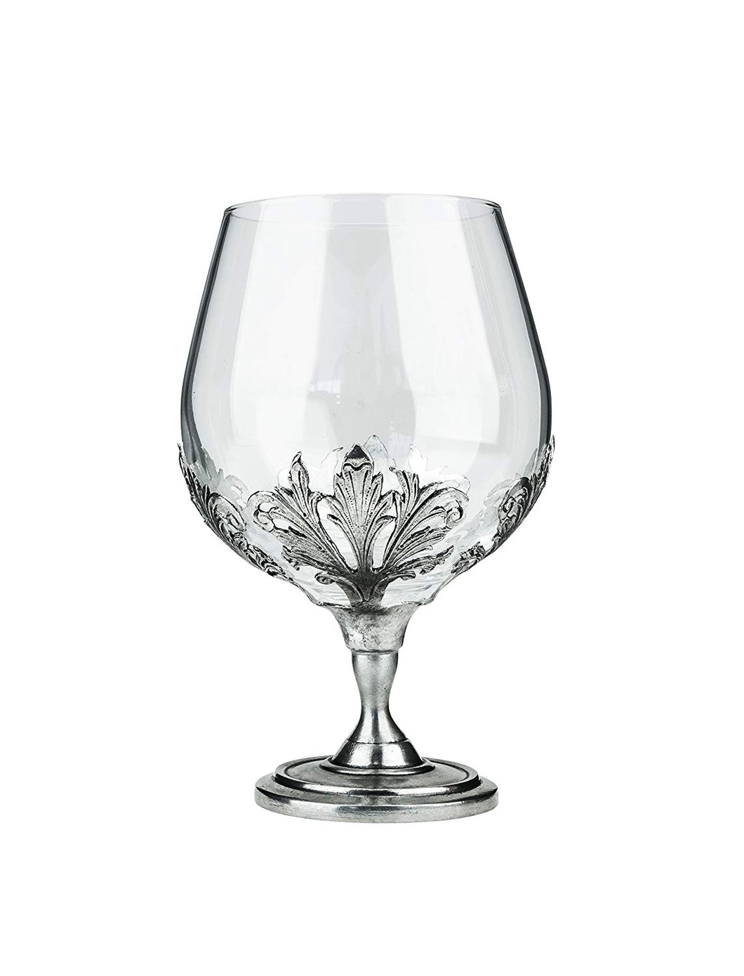 Denizli Medieval Cognac Snifter Glass, Gothic Style Crystal Glass, Metal Pattern