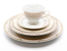 Royalty Porcelain Vintage Antique 5-pc Place Setting 'Sandra Pink Gold', Premium Bone China
