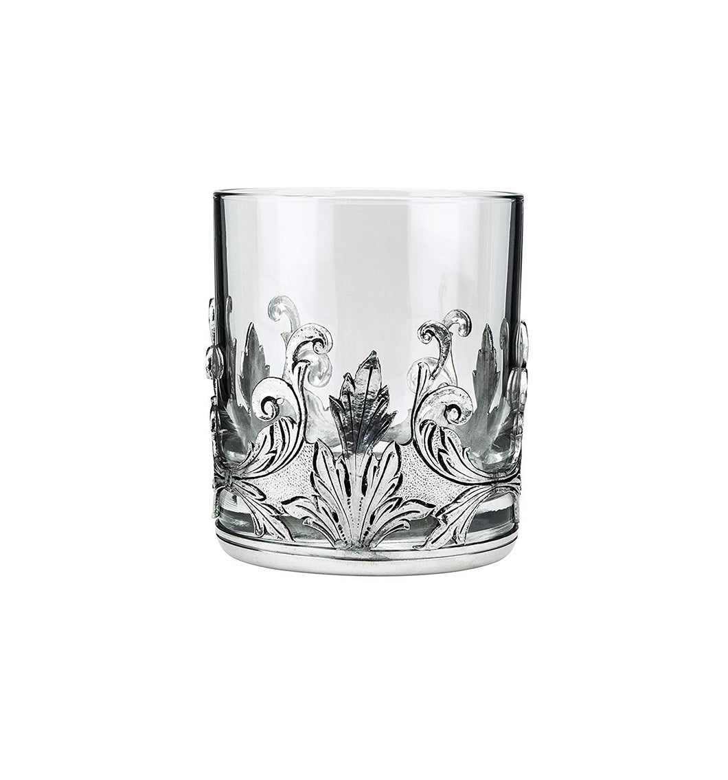 Denizli Medieval Drinking Beverage Glass, Crystal Glass (Round Silver Leaves)