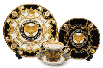 Royalty Porcelain 16-pc Dinner Set, Greek Amphora, Premium Bone China (Black)