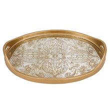 "(D) Serving 'Manta Gold' Oval Tray 12""W, Premium Quality Wooden Frame"