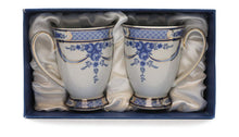Royalty Porcelain 2pc Mug for Tea or Cofee, Gold Bone China (Floral Cobalt Blue)