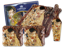 Carmani Painters 4-pc Decorative Glass Dessert Serving Set, Klimt (The Kiss)