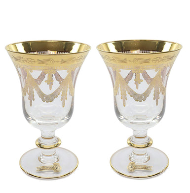 Interglass Italy 2-pc Luxury Crystal Glasses, Vintage Design, Gold-Plated (Wine)