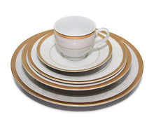 "Royalty Porcelain ""Medieval"" 5pc White & Gold Dinnerware Set for"