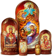 (D) Russian Souvenirs Nesting Doll Inexhaustible Cup Matryoshka Religious Gifts 5pc