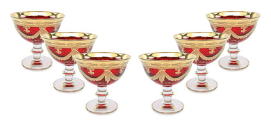 Interglass Italy Luxury Vintage Glass Compote Serving Bowl (6, Red)