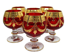 Interglass Italy Set of 6 Crystal Glasses, Gold-Plated (Cognac Snifters, Red)