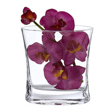 "(D) Centerpiece 'Rivera' Pocket Flower Vase 7.75"" H, Premium Crystal Glass"