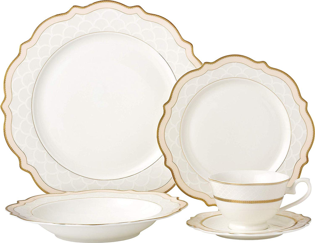 Royalty Porcelain Vintage Wave Shape 5-pc Place Setting 'Pink Blush', Premium Bone China Porcelain