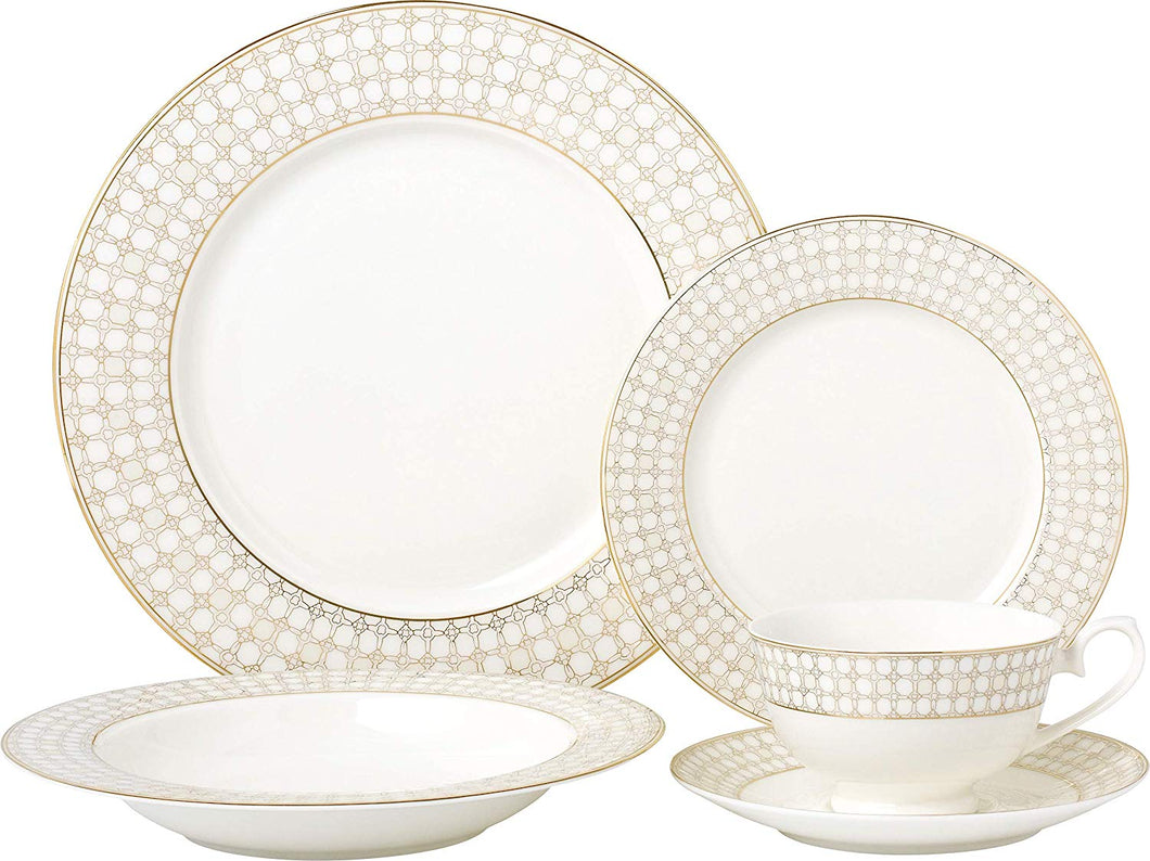Royalty Porcelain Vintage Medieval Net 20-pc Dinnerware Set 'Golden Medieval', Premium Bone China Porcelain