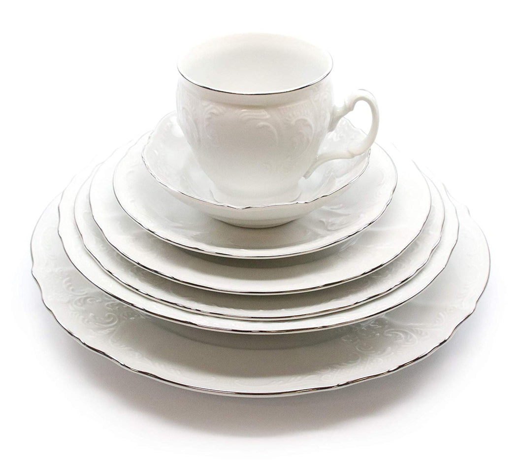 Royalty Porcelain Vintage Antique 28-pc Dinnerware Set 'Bernadotte White Platinum', Bone China Porcelain