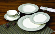 Royalty Porcelain Silver Pearl 20pc Dinnerware Set, Premium Bone China Porcelain