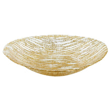 "(D) Handcrafted Glass Serving Oval Bowl 8"" with Metallic Gold Line Pattern"