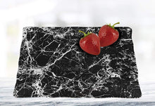 "(D) Black Marble Glass Square Serving Tray 12""L, Serving Display Platter"