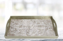 "(D) Serving 'Manta Silver' Rectangle Tray 18""L, Premium Quality Wooden Frame"