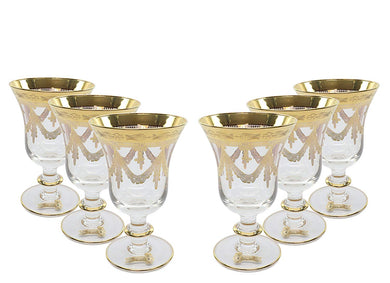 Interglass Italy 6pc Luxury Crystal Glasses, 24K Gold-Plated (12974 Clear Wine)