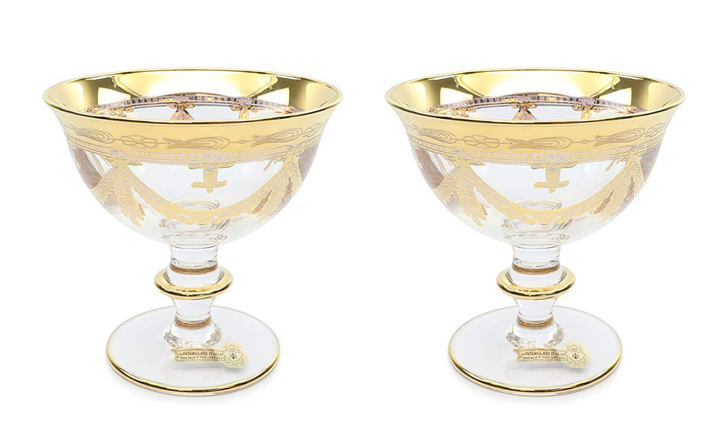 Interglass Italy Luxury Vintage Glass Compote Serving Bowl (2, Clear)