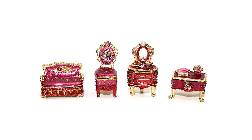 Decorative Enameled Figures, Jewelry Box with Swarovski Crystal (Mini Furniture)