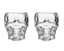 Skull 10-Oz DOF Glasses 2-pc SET, Lead Free Mouthblown Liquor Tumblers For Bourbon, Whiskey, Scotch, Rum, Tequila