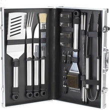 (D) Professional BBQ Grill Tools Set in a Box 20 PC for Outdoor Cooking