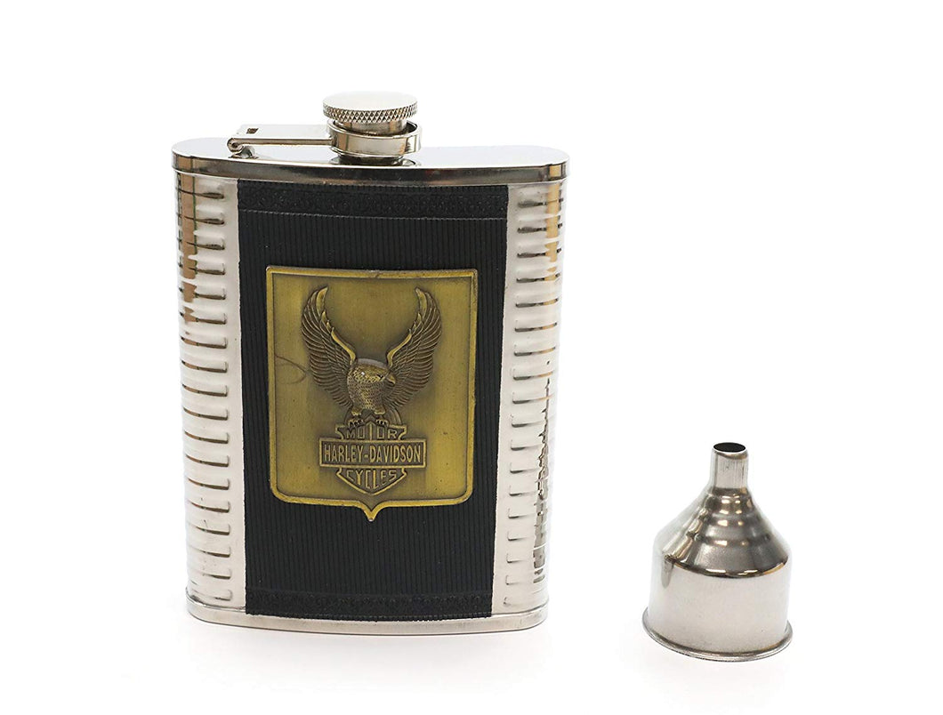 Denizli Stainless Steel Alcohol Flask with Funnel (8 Oz, Harley Bronze)