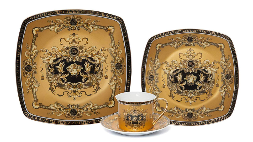 Royalty Porcelain Fancy Square Greek Key 4-pc Place Setting 'Medusa Yellow', Premium Bone China