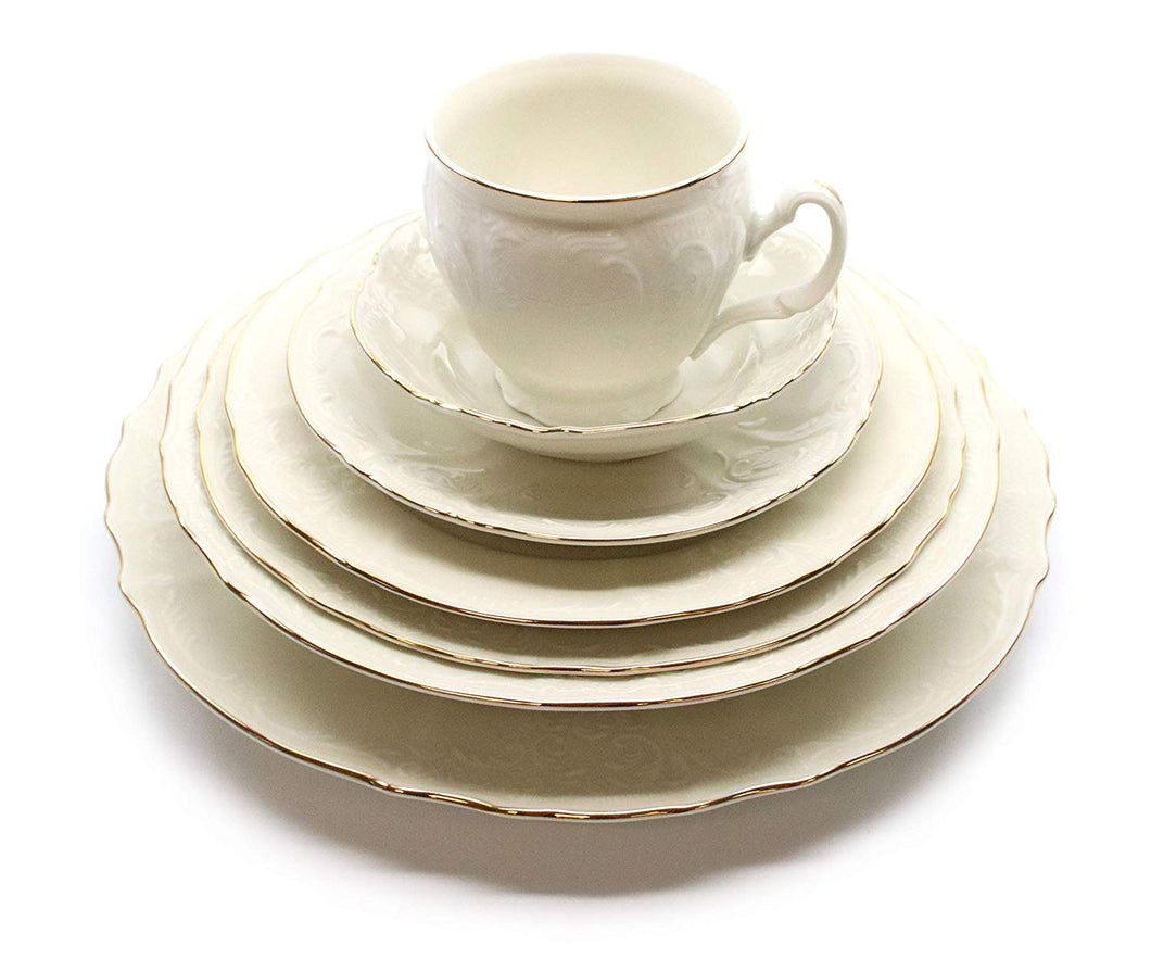 Royalty Porcelain Vintage Antique 28-pc Dinnerware Set 'Bernadotte Ivory Gold', Bone China Porcelain