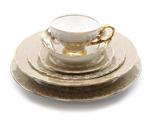 Royalty Porcelain Damascus Silver and Gold 6-pc Place Setting 'Matilda', Premium Bone China