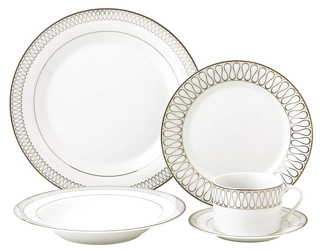 Royalty Porcelain 5-pc Antique Design 'Infinity Gold' Dinner Set for 1, Premium Bone China