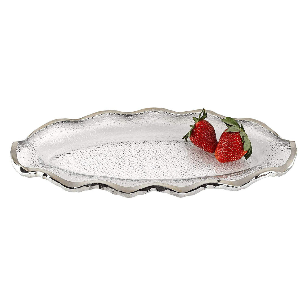 (D) Handcrafted 'Silveredge' Oval Wavy Serving Platter 14