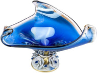 Footed Fruit Murano Glass Bowl 'Alpha' Centerpiece Bowl 13 Inch (Blue)