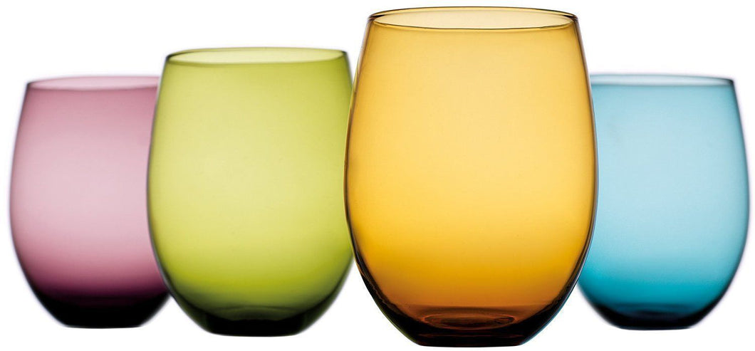 Tuscana Set of 4 Multi Colored - 14 Oz Vintage Wine or Beverage Stemless Glasses
