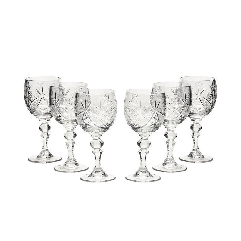 Neman Glassworks, 5-Oz Russian Crystal Wine Goblet Glasses, 6-pc Vintage Set