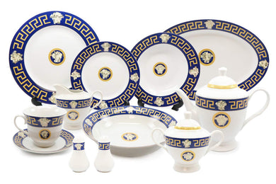Royalty Porcelain 49-pc Dinner Set Medusa, Greek Key Banquet Set for 8 (Blue)