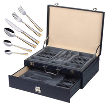 Italian Collection 'Madison Gold' 84-Pc Flatware Set w/Leather Storage Case