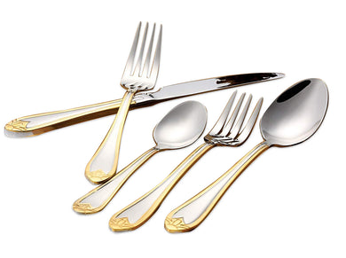 Italian Collection Lorena Gold 20pc Stainless Steel Flatware Set, Service for 4