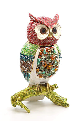 Faberge Box Decorative  Jewelry Box with Swarovski Crystal (Multicolor Owl)