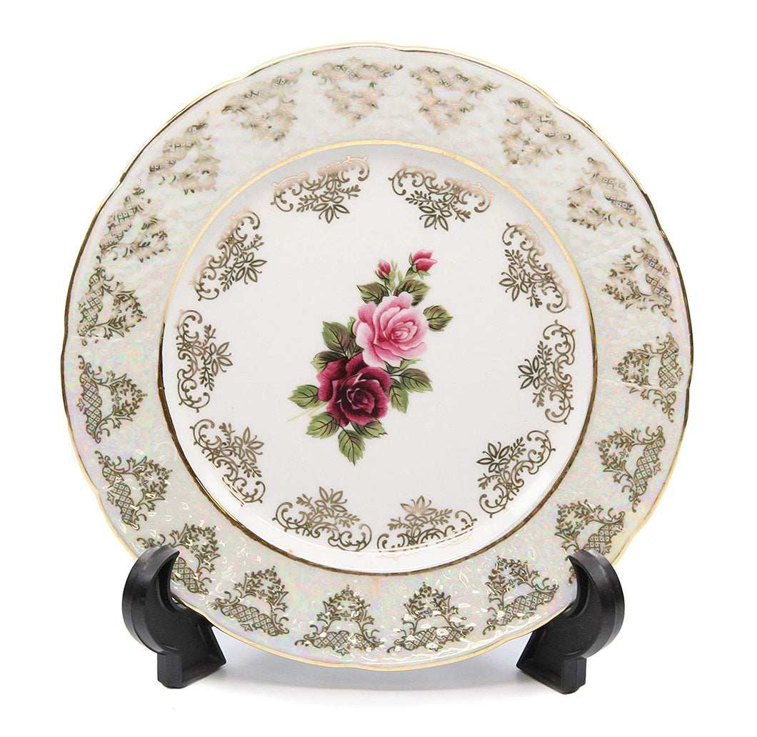 Royalty Porcelain Set of 6 Dessert Plates 6.5, Floral Pattern, Bone China