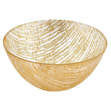 "(D) Handcrafted Glass Serving Bowl 8.75"" with Metallic Gold Line Pattern"